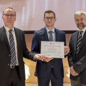 EPMA PM Thesis Competition winner - Masters Category - Dipl-Ing Kevin Ouda with EPMA President Mr Philippe Gundermann and Euro PM2018 TPC Co-Chair Prof Herbert Danninger