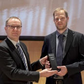 EPMA PM Component Award Winner in the Additive Manufacturing Category - Rosswag GmbH - with EPMA President Mr Philippe Gundermann