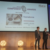 Framatome / Aubert & Duval accepting the EPMA PM Component Award in the Hot Isostatic Pressing Category from EPMA President Mr Philippe Gundermann